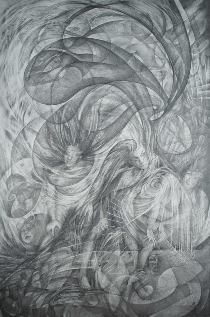 CHAOS-large-graphite-drawing-by-artist-Elizabeth-Reed-about-climate-change by artist Elizabeth Reed Individual Environmental Responsibility