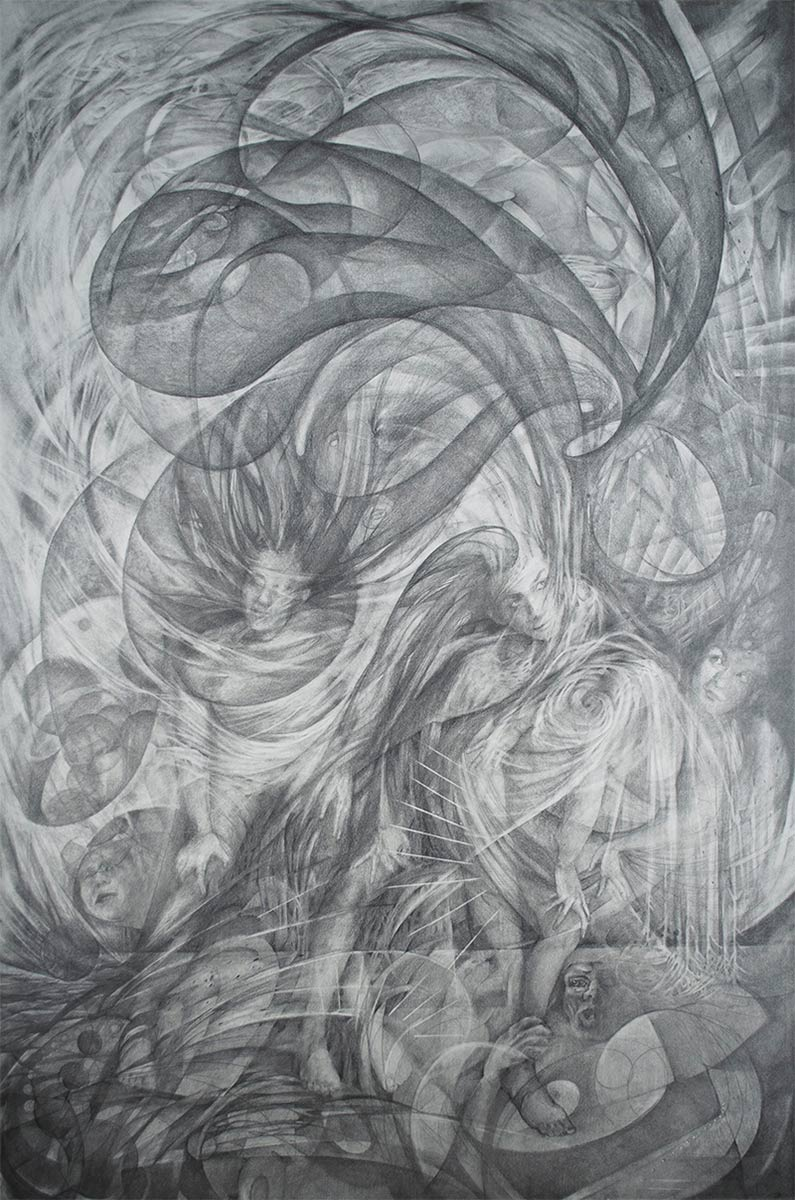 CHAOS-large-graphite-drawing-by-artist-Elizabeth-Reed-about-climate-change