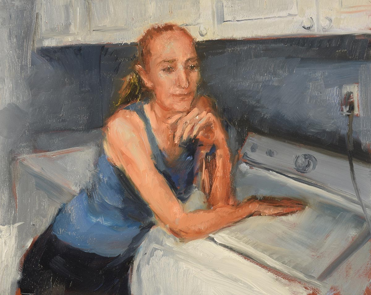 CONTEMPLATING-IN-THE-LAUNDRY-ROOM-small-oil-sketch-by-artist-Elizabeth-Reed-during-the-Corona-Virus-pandemic