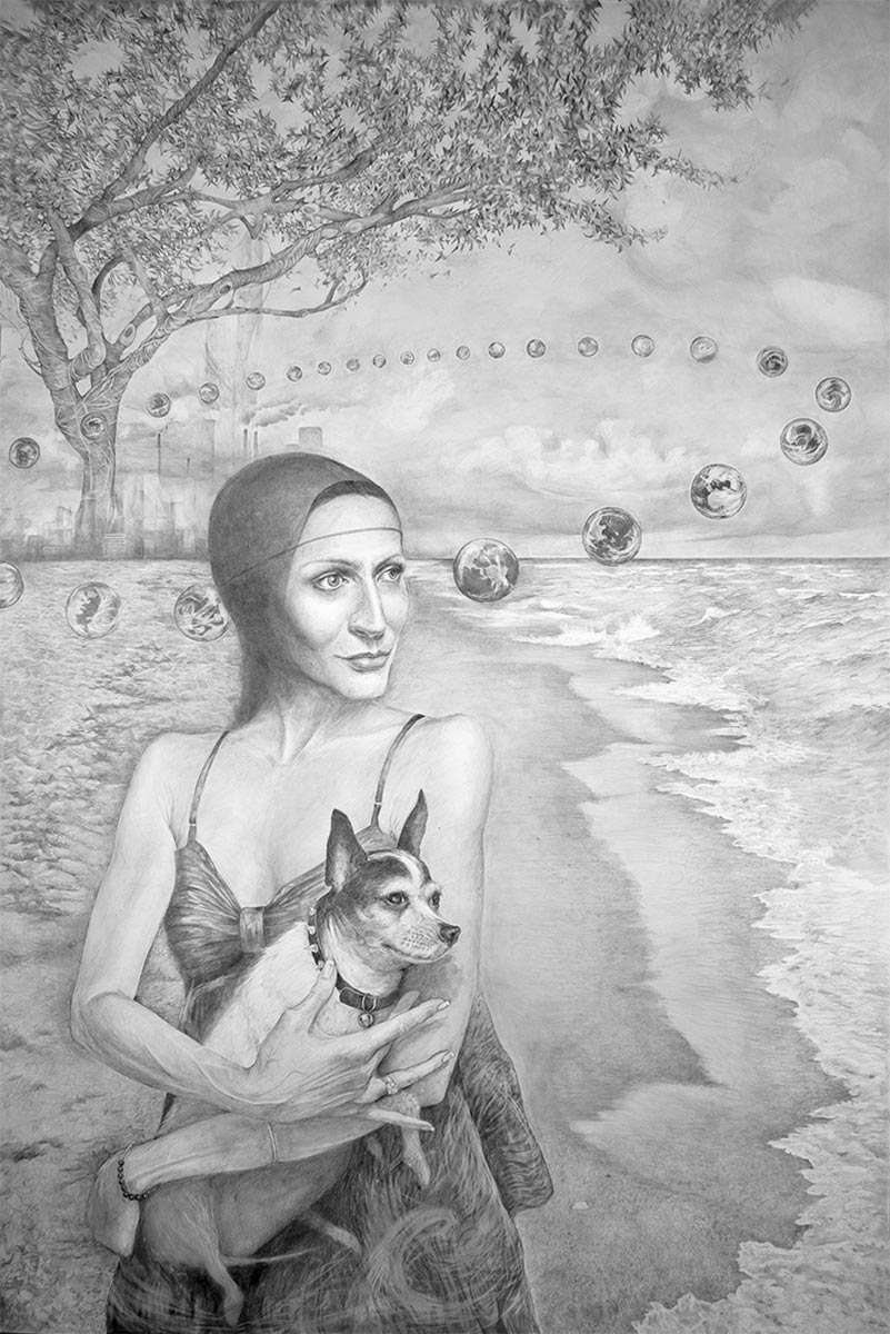 GAIA is a large graphite drawing about climate and the Gaia Principle by artist Elizabeth Reed