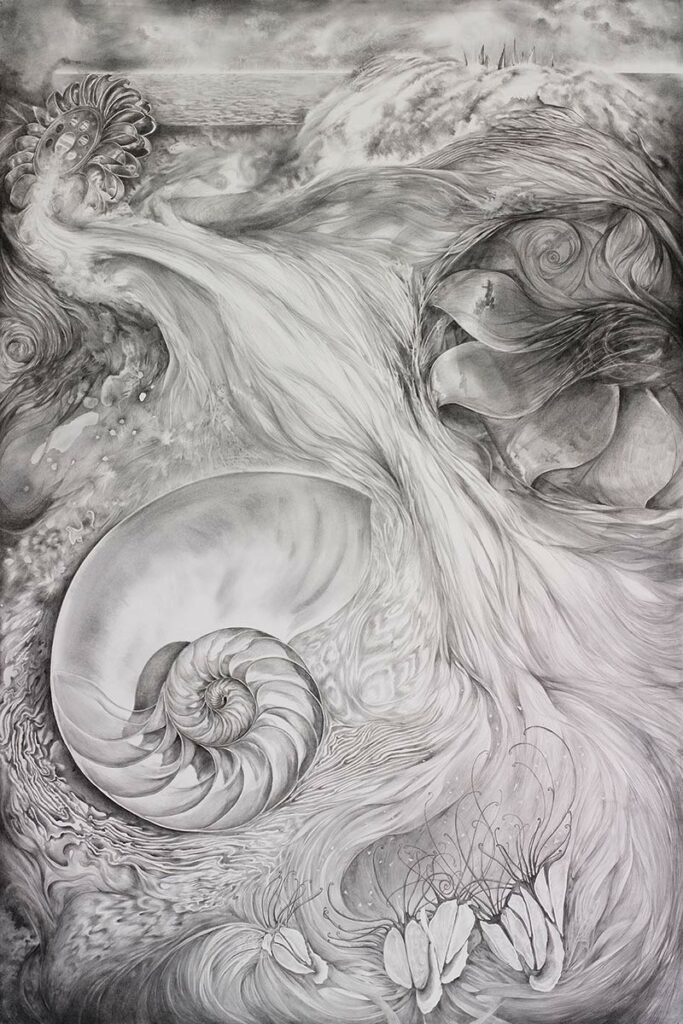 IMPETUS-large graphite-drawing-about hydro-electric-power by artist Elizabeth Reed