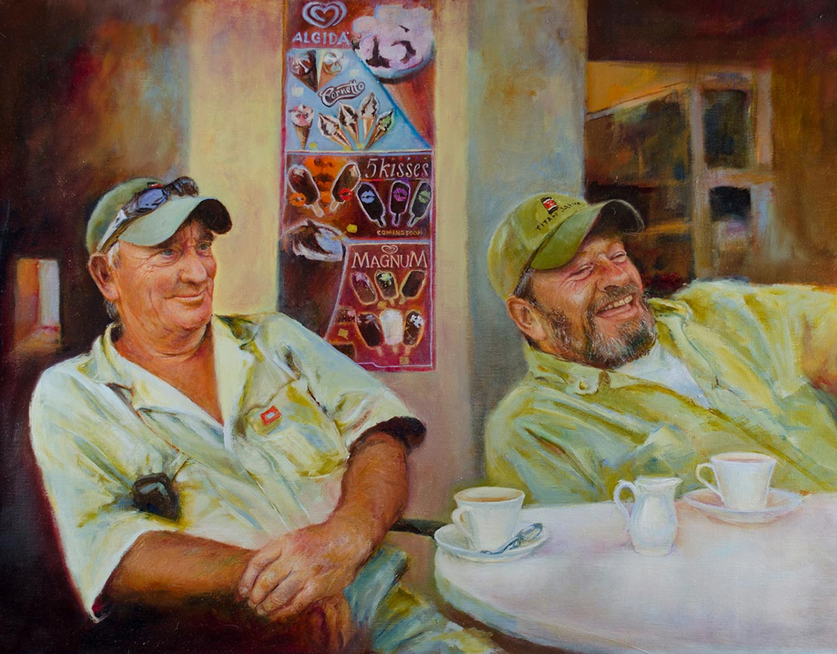 Oil portrait of Jim Conroy and Terry Barrows at the wreck removal of the Costa Concordia Cruise Ship Commission a fine art portrait by artist Elizabeth Reed