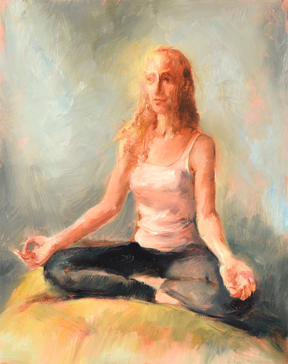 NAMASTE-ON-ZOOM-oil-sketch-by-artist-Elizabeth-Reed-during-the-Corona-Virus-pandemic