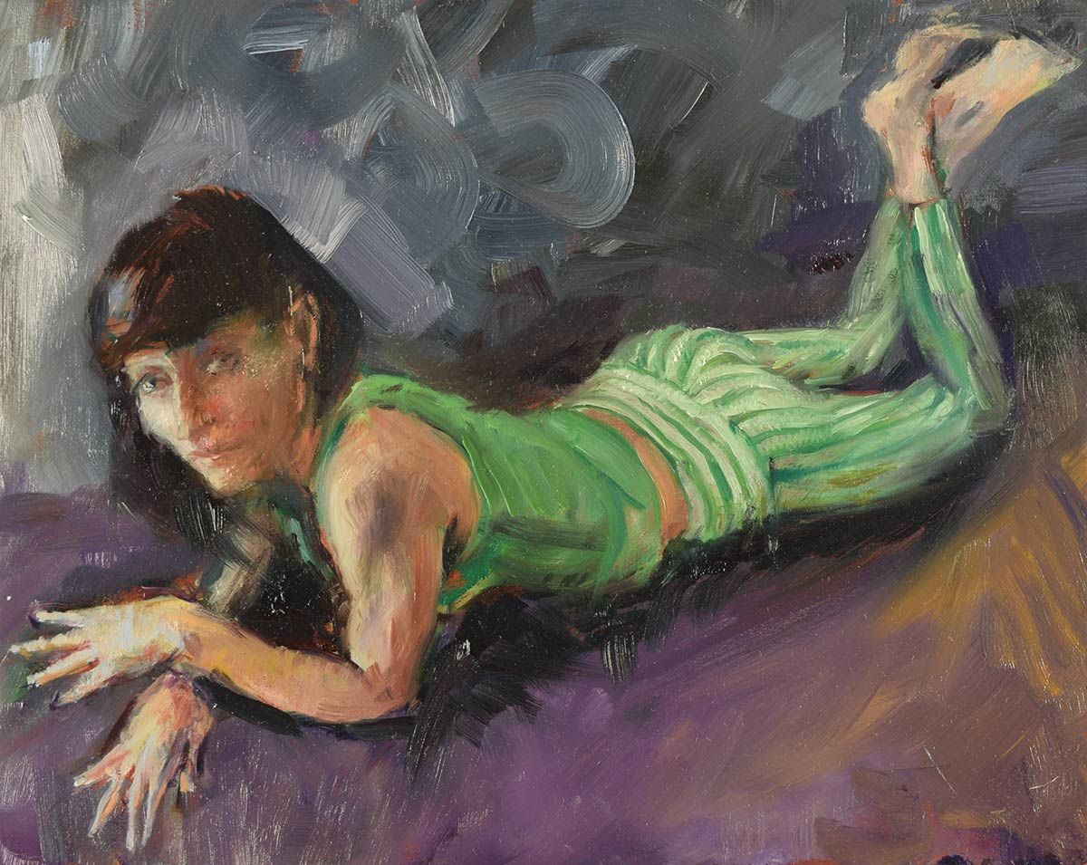 STRIPED-PANTS-LOOKING-UP-oil-sketch-by-artist-Elizabeth-Reed-during-the-Corona-Virus-pandemic