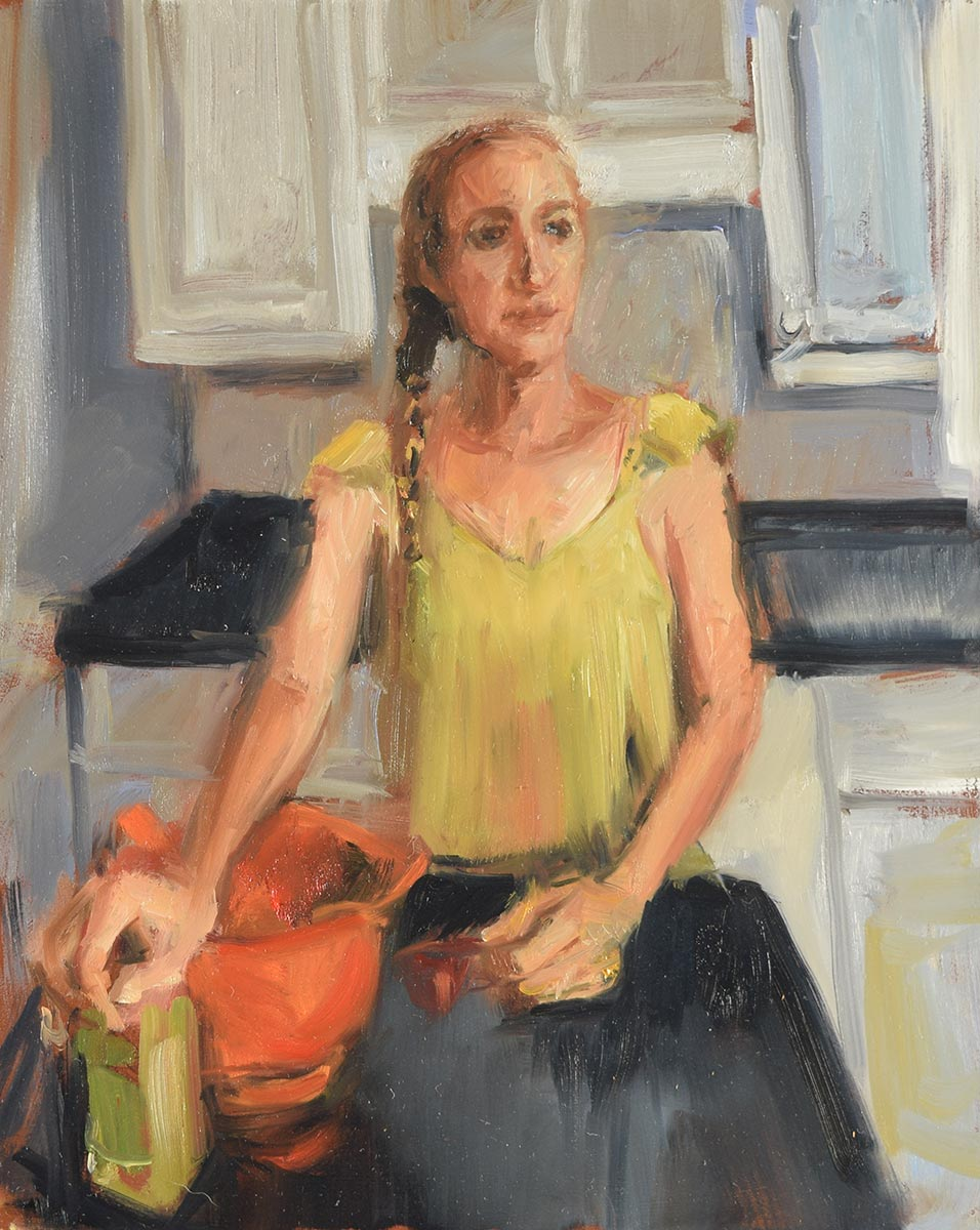 STUCK-IN-THE-KITCHEN-oil-sketch-by-artist-Elizabeth-reed-during-the-Corona-Virus-pandemic