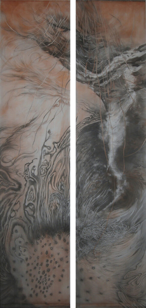 THE VORTEX SCROLLS is a graphite and metallic pigment drawing on mylar by artist Elizabeth Reed Individual Environmental Responsibility