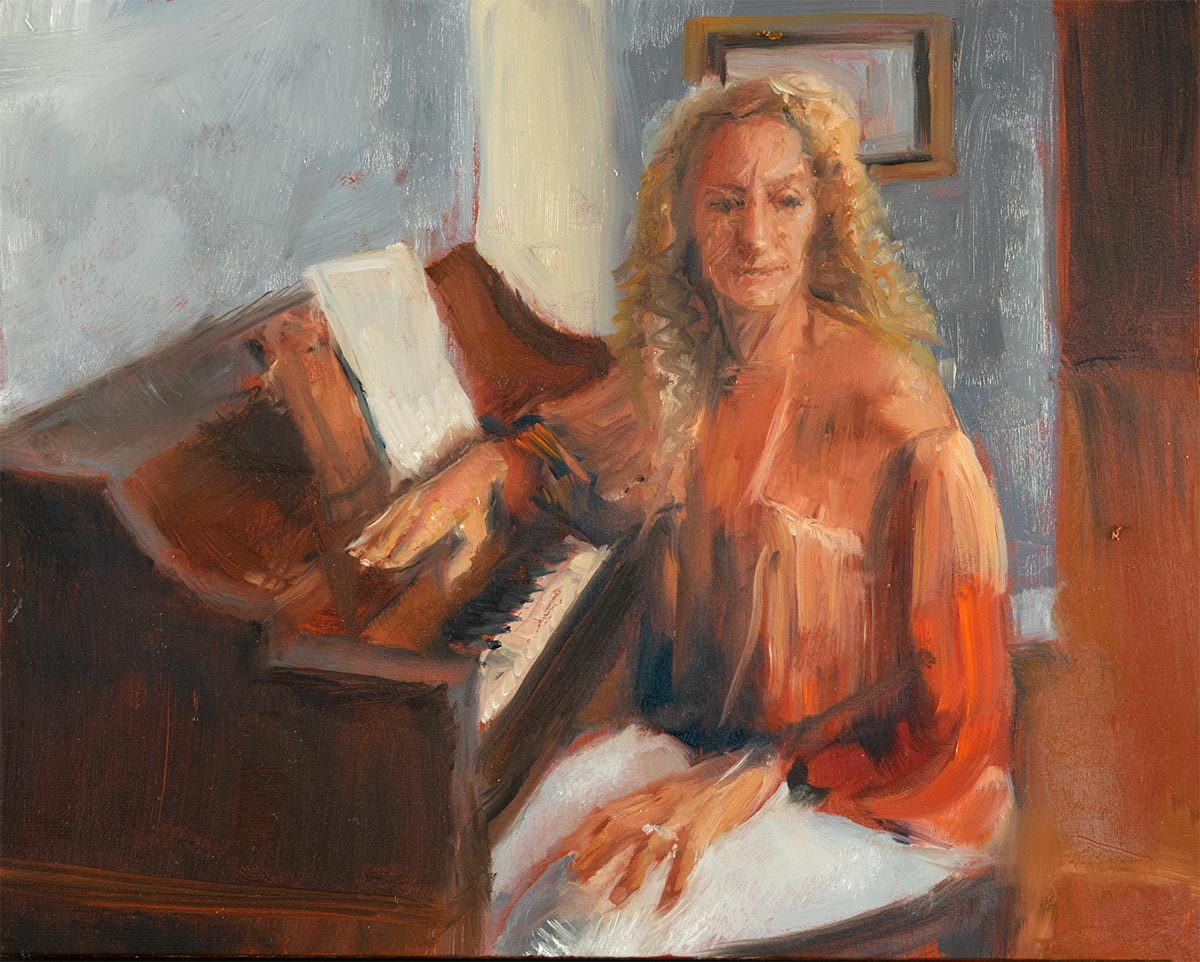 WAITING AT THE PIANO-oil-sketch-by-artist-Elizabeth-Reed-during-Corona-Virus-seclusion