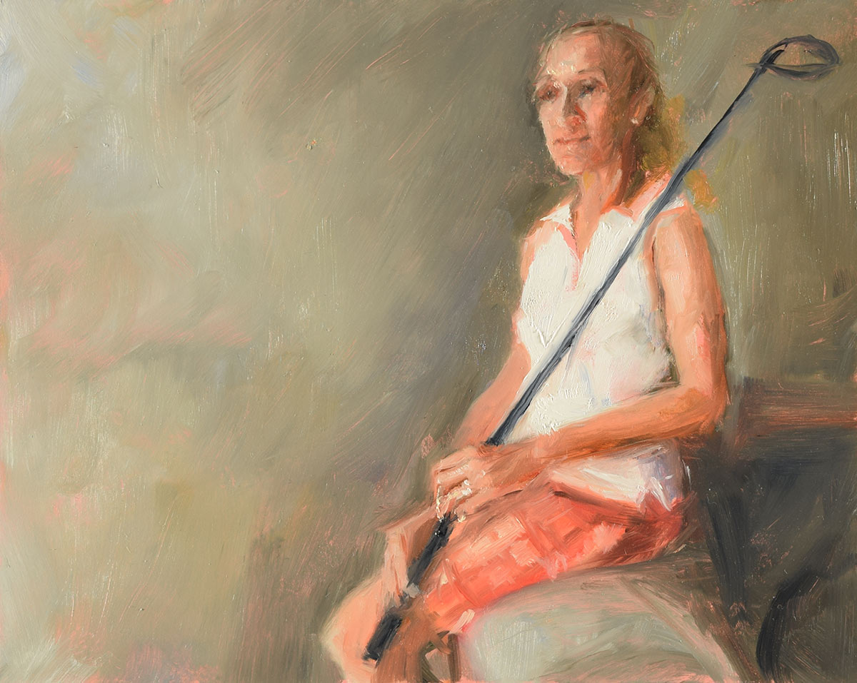 WAITING-FOR-AFTERNOON-GOLF-oil-sketch-by-artist-Elizabeth-Reed-during-the-Corona-Virus-pandemic