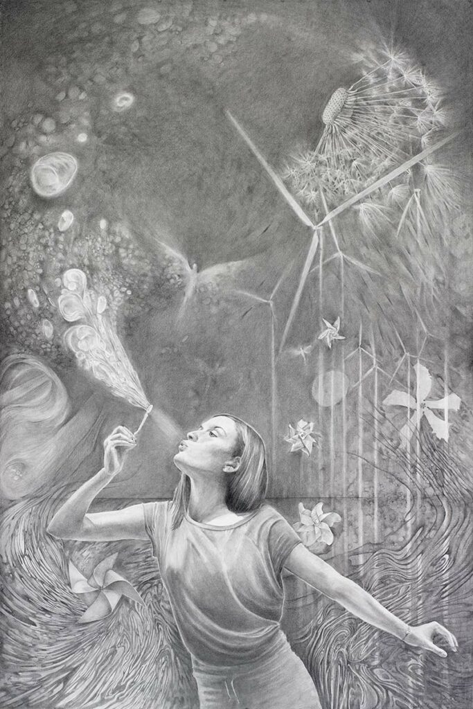 ZEPHYR large graphite drawing about wind power generators by artist Elizabeth reed