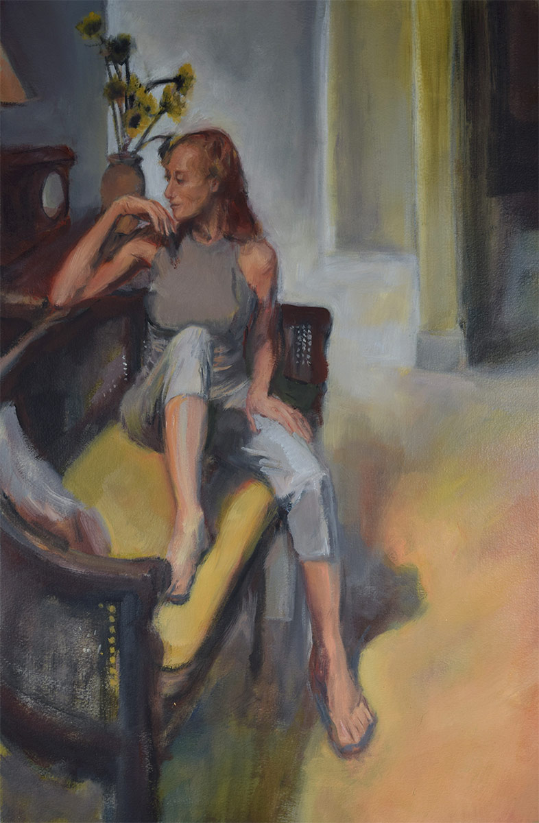 LOUNGING-ON-THE-SOFA-oil-sketch-from-life-by-artist-Elizabeth-Reed