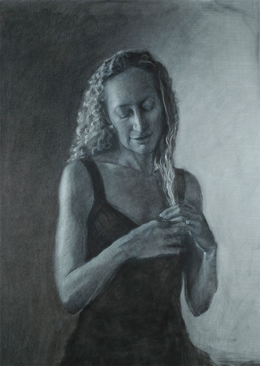 TRANQUILLA-charcoal-drawing-of-a-woman-looking-down-by-artist-Elizabeth-Reed