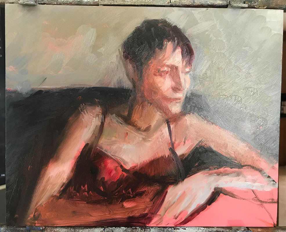 Sixth-process-photo-of-portrait-of-Noelle-Commission a fine art portrait by-artist-Elizabeth-Reed
