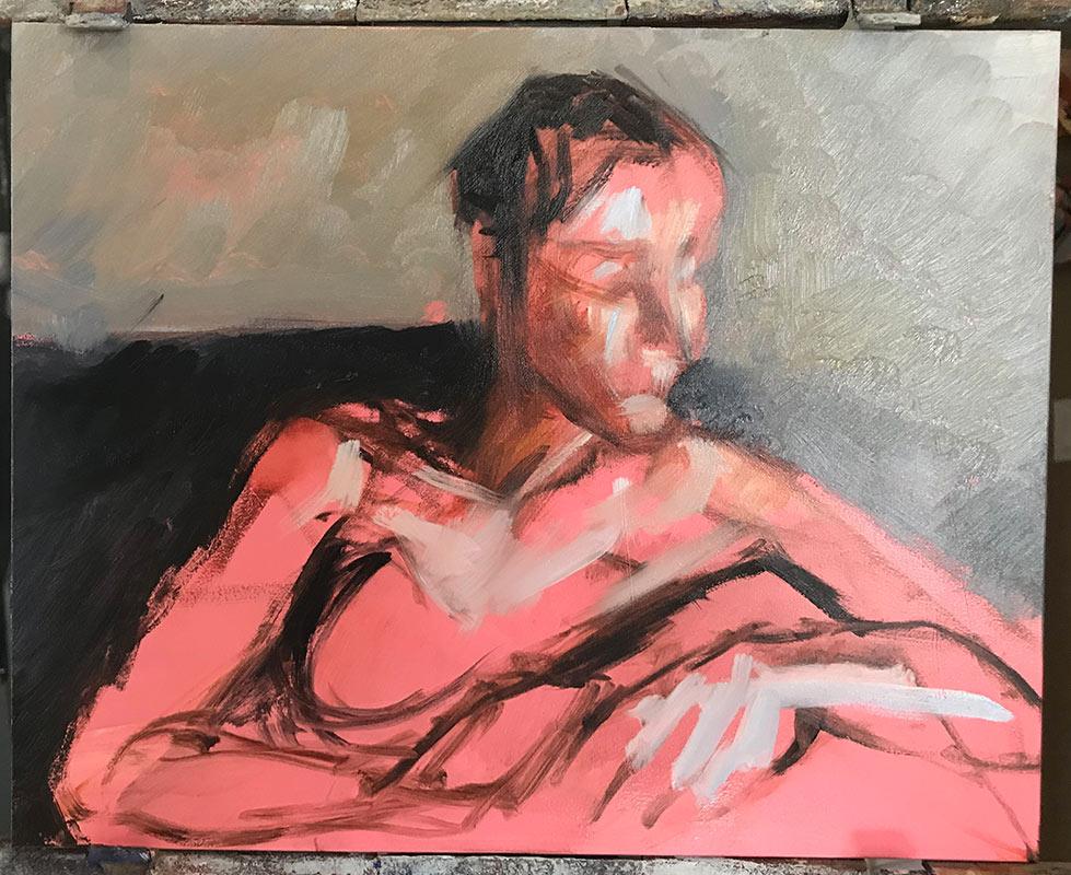 Third-process-photo-of-portrait-of-Noelle-Commission a fine art portrait by-artist-Elizabeth-Reed